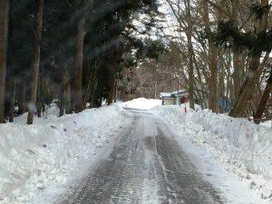 山林の雪道